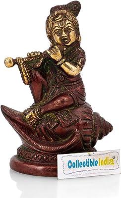 Collectible India Brass Baby Krishna Statue Sitting On Conch Janmashtami Home Decor Gift