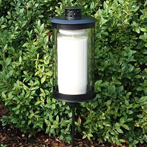Trauer-Shop Laterne Schwarz mit Stecker und Licht, Grablaterne Stab und Kerze. Länge mit Stab 49 cm.