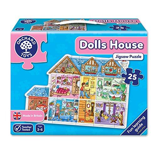 Orchard Toys Puppehaus-Fußbodenpuzzlespiel Dolls House 25 Stücke
