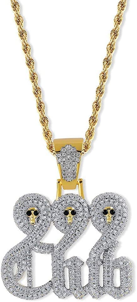 BaiJaC Hiphop Necklace, Max 44% OFF Hip Popular brand Hop Iced 999Club Skull Out P Bling
