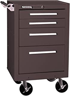Kennedy Manufacturing 21040B 4-Drawer Roller Cabinet with Tubular High-Security Lock, Brown Wrinkle