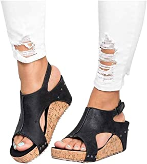 Ankola Womens High Heel Wedge Sandals Open Peep Toe Side Cut Out Ankle Buckle Cushioned Strap Summer Shoes