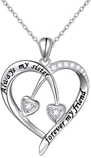 S925 Sterling Silver Always My Sister Forever My Friend Love Heart Pendant Necklace Bff Gift for Women Teen Girls