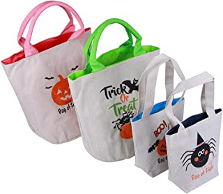 4 Pack Personalized Halloween Treat Bags, Reusable Trick or Treat Candy Sack Bags, Customized Canvas Trick Candy Bag for Party, Shopping, Market(2 Small 7.8 x 7; 2 Big 12 x 10)