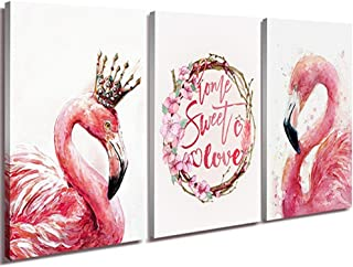 Canvas Print Wall Décor Art Elegant Pink Flamingo King and Queen Pictures Prints Sweet Love Modern HD High Giclee Walls Painting Artwork for Home Office Decorations Framed Set of 3 Pieces 12