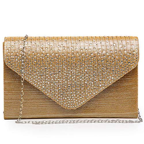 Dasein Women Evening Envelope Handbag Party Prom Clutch Purse Shoulder Cross Body Bag (Gold)