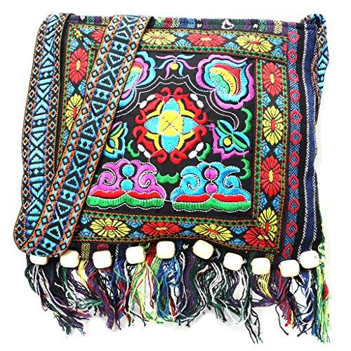 junengSO Chinesisch Hmong Thai Stickerei Hill Tribe Totes Messenger Quasten Tasche Boho Hippie