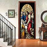 LMHWW 3D Tür Aufkleber Wandbild Jesus Betet Diy Tür