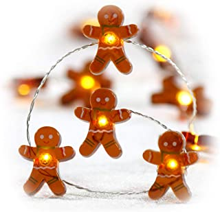 Impress Life Christmas Festivel String Lights, Gingerbread Cookies Man 10 ft Copper Wire 40 LEDs with Dimmable Remote for ...