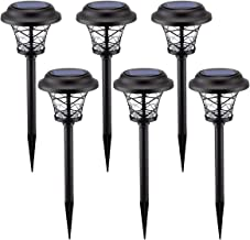 Solpex 6 Pack Solar Path Lights Outdoor,High Lumen Automatic Led for Patio, Yard Lawn and Garden(Stainless Finished, Warm White)
