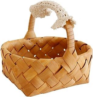 DOITOOL 1 panier de rangement pour bonbons, boîte cadeau, panier en osier en bois pour décoration de mariage, de salon, 16...