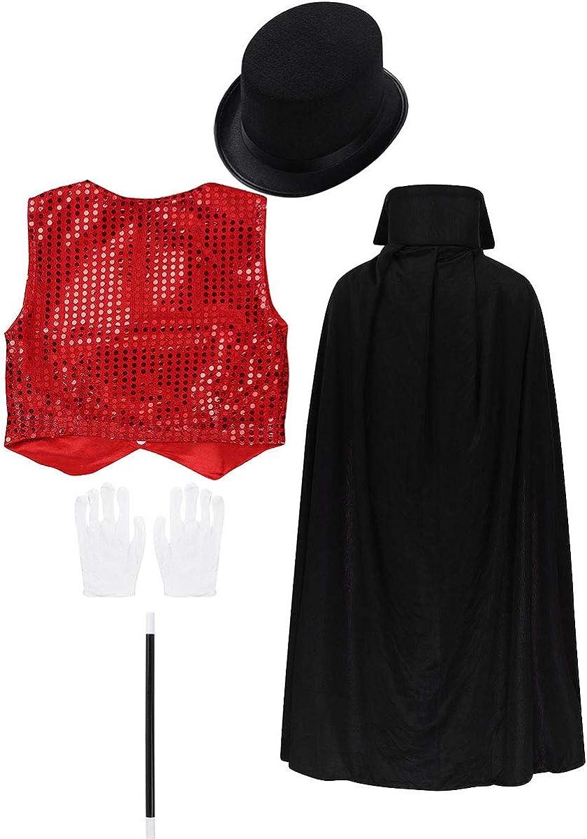 moily Kids Boys Girls Shiny Magician Halloween Party Full Cloak Sequins Vest Magic Accessories Set