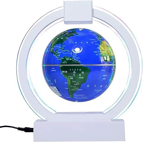 SQRGLOBES 6 Zoll Magnetschwebebahn Floating Globe Bunte Beleuchtung Blau Earth Globe mit LED-Licht kreisf ig Basis für Home Office Schreibtisch Dekoration Kinder p gogisches Geschenk