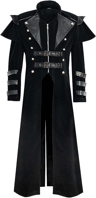 IHGTZS Men's Gothic Jacket Medieval vintage coat Long Court Banquet Coat Full Length Split Zipper Windbreaker