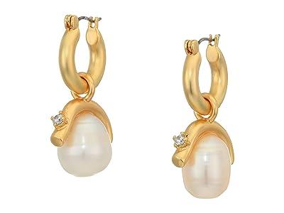 SOLE / SOCIETY Huggie Drops Earrings (12K Soft Polish Gold/Crystal/Ivory Fresh Water Pearl) Earring