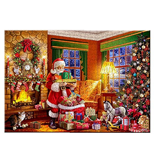 Puzzle in legno da 1000 pezzi Gioco di puzzle natalizio per bambini Adulti Ragazzi Giocattolo a pressione ridotta Regalo - Albero di Natale Regali di Natale