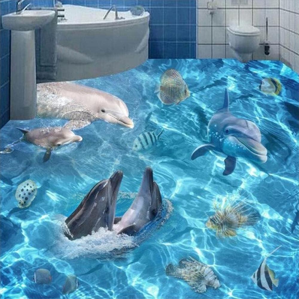 Custom 3D Max 84% OFF Wallpaper Ocean World Mural Livi Floor Save money Dolphins Sharks