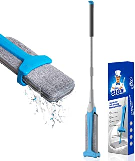 MR.SIGA Easy Self-wringing Flipping Flat Mop, Double Sided Lazy Mop for Laminate, Tile, Hardwood Floor, Wet & Dry Mopping in 2 Sides, Pad Size 12.5''X 4.3''(32 x 11cm)
