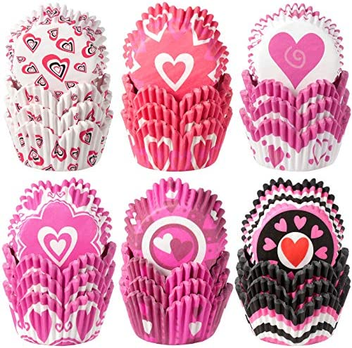 600 Pieces Wedding Cupcake Liners Heart Cupcake Baking Cups Wrappers Paper Wraps Muffin Case product image