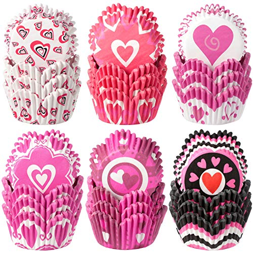 600 Pieces Valentine's Day Cupcake Liners Heart Cupcake Baking Cups Wrappers Paper Wraps Muffin Case Trays for Christmas Valentine's Day Birthday Party Decorations