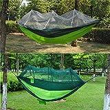 Hamaca Doble paracaídas Hamaca Columpio Cama con mosquitera Carga máxima 300 kg Perfecto para jardines Acampar al aire libre (Color: Verde, Tamaño: 240x140CM)