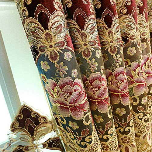 ZZCZZC 2 Pack - European Jacquard Hollowed Semi Blackout Curtains Brown Chenille Curtain with Grommets Luxury Picture Window Draperies for Hotel Fringed Macrame Panels W52 x L84 inch Total W104 inch