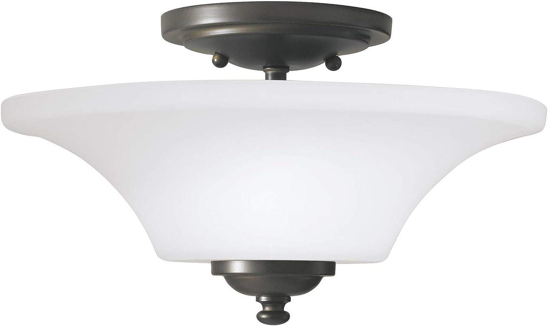 Feiss SF240ORB Barrington Glass Semi Flush Ceiling Lighting, Bronze, 2-Light (13 Dia x 8 H) 120watts
