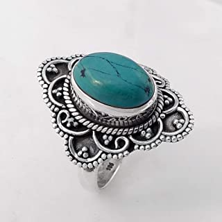 Turquoise Matrix Solid 925 Sterling Silver Ring Jewelry, Anelli d'argento per regalo donna