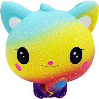 Squishies Cute Starry Cat Slow Rising Squishy Toys Doll Fun for Kids Birthday Festival Gift to Boys or Girls Children Stress Anxiety Reliever Toy Doll for Adult (A)