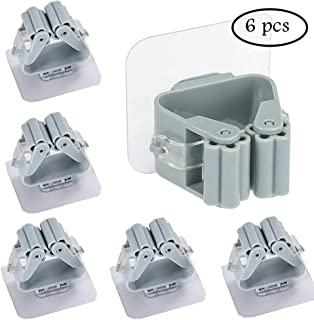 Eaglean Broom Holder Wall Mount, Anjuer Mops Brooms Hanger Light Sabers Closet Organization Hooks with Spring Clip (6 Pack Gray)