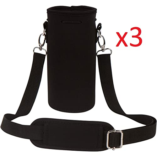 (3 Pack) Insulated Neoprene Water Bottle Holder Sleeve Carrier with Strap  by MEK 3aaa685f1c580
