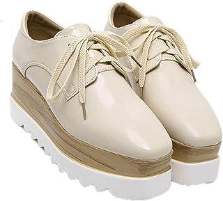 Zapatos de Plataforma para Mujer, Zapatos de tacón con Punta Cuadrada Retro, Zapatos Antideslizantes de Fondo Grueso de Ch...