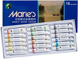 Marie's Watercolor Paint Set, Extra Fine Highly Pigmented Paint Set - 12 ml Tubes - Assorted Colors - [Set of 18]