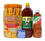 Tajin Clasico Fruit Seasoning 14oz, Chilerito Chamoy Sauce 33.8 oz, Banderilla Tamarindo Mexican Candy Sticks. 30 Pieces of Spicy Tamarind Candy For Your Mangonada & Mints From Tex-Mex Sweetz Kit