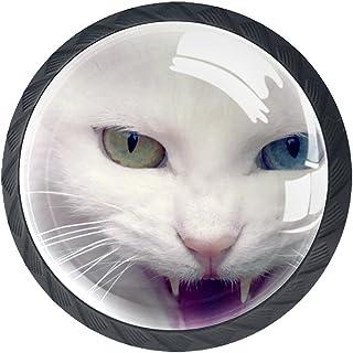 Paquet de 4 boutons d'armoire de cuisine, boutons pour tiroirs de commode Chat blanc animal Tire les poignées de porte
