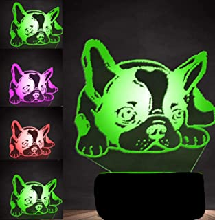 3D French Bulldog Dog Night Light Puppy Animal Table Lamp Decor Table Desk Optical Illusion Lamps 7 Color Changing Lights LED Table Lamp Xmas Home Love Brithday Children Kids Decor Toy Gift