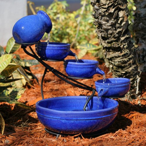 Smart Solar Blue Ceramic Cascade Outdoor Bird Bath Fountain