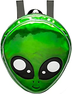 Mily Alien Logo Hologram Backpack PVC Backpack Casual Bag Green