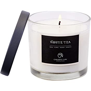 Chloefu LAN Premium White Tea Scented Candle for Men & Women, Highly Scented, 7.1oz|45 Hour Long Lasting, Relaxing Aromatherapy All Natural Soy candle, Home Decor, White Glass Jar Candle with Gift Box