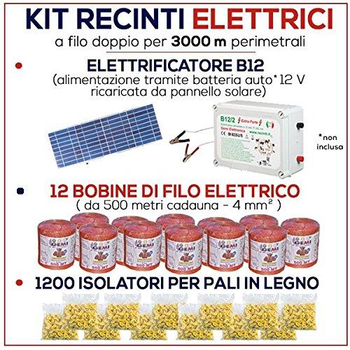 Kit für Weidezaun 3000 Meter - Solaranlage für Weidezaungerät + Weidezaun Litze + Isolatoren für Holzpfähle / eisenpfähle GEMI