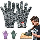 Reinalin Schnittschutzhandschuhe für Kinder, Küchenhandschuhe mit Hoher Schnittschutz der Leistungsstufe 5 für 3-5 Jährige,Lebensmittelkontaktqualität (XXXS, Grau)