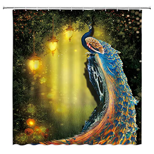 XZMAN Peacock Shower Curtain Fairy Forest Fantasy Garden Golden Classical Noble Blue Feather Bathroom Curtain Decor Set Waterproof Fabric 70 x 70 Inches with Hooks