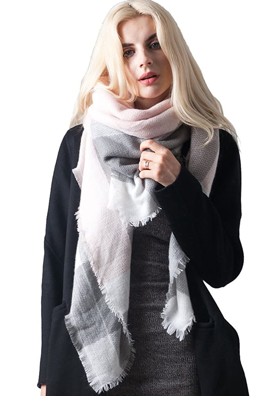 MissShorthair Women's Plaid Blanket Scarf Big Tartan Scarf Neck Warmer for Winter