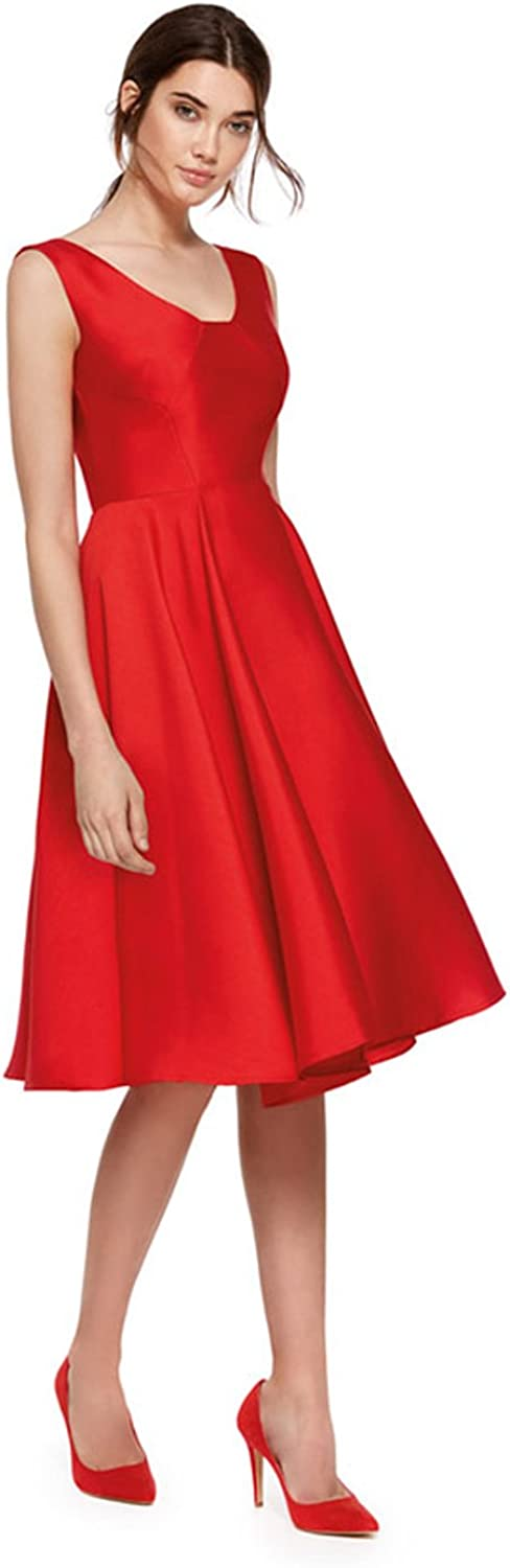 Fenghuavip Red Evening Dresses A Line Knee Length Prom Gown