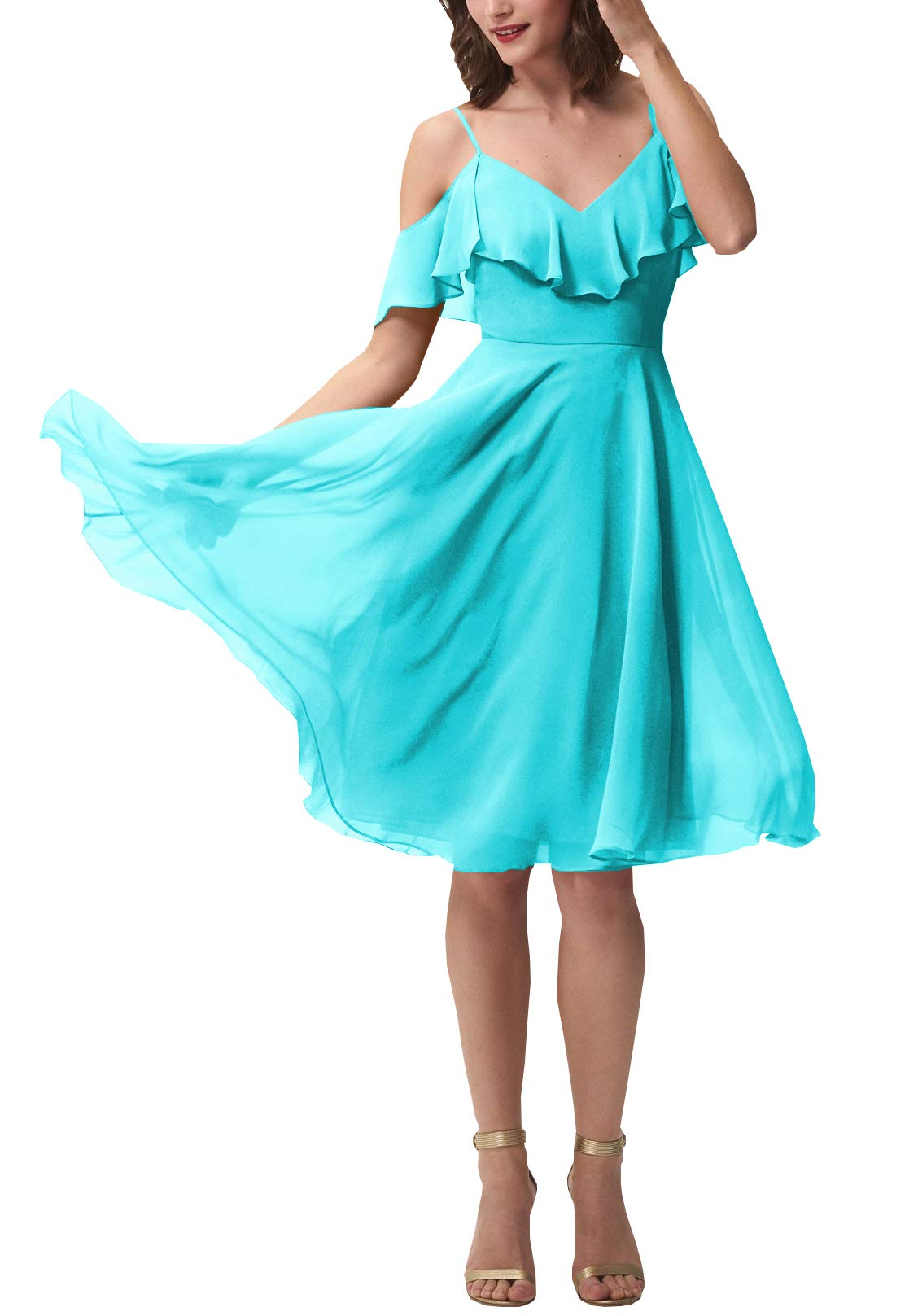 Available at Amazon: Now and Forever Women's Short A-Line V Neck Ruffled Prom Bridesmaid Dress for Formal Party Gowns