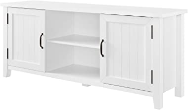 """Walker Edison Furniture Company Modern Farmhouse Grooved Wood Stand with Cabinet Doors 65"""" Flat Screen Universal TV Console Living Room Storage Shelves Entertainment Center, 58 Inch, White"""