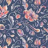 Viskose Jersey Stoff Meterware Paisley Flowers (jeansblau)