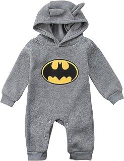 MINASAN aby Jungen Bodysuit Batman Strampler Herbst Langarm Baby Kapuze Einteiler Outfits Kleidung Neugeborene Säugling 0-24 Monate
