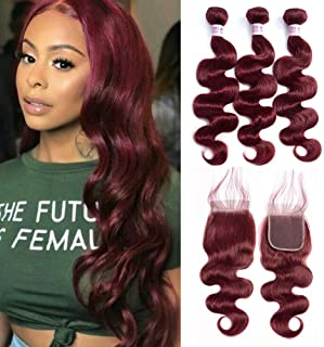 Aigemei Wine Red Bundles with Closure 8A Peruvian 100% Unprocessed Virgin Human Hair Body Wave Hair Wefts with 4x4 Free Part Lace Closure Color 99J Hair Extensions(18''18''20''+18''Closure,Color 99J)