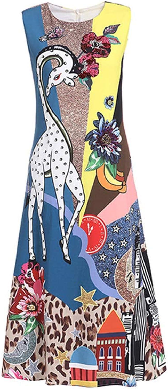 Women's Spring and Summer Heavy Beaded Beaded Sequins Giraffe Flowers Positioning Print Sleeveless High Waist Casual Flare Skirt,XL